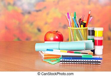 målar, material, anteckningsblock, skrift