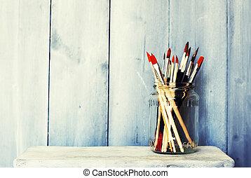 målar, och, borstar