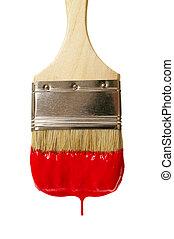 målarfärg borsta, med, färg, drop., isolerat, vita