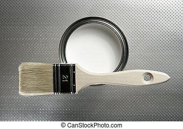 målarfärg konservburk, vit, borsta, målare
