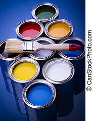 målarfärg och pensel