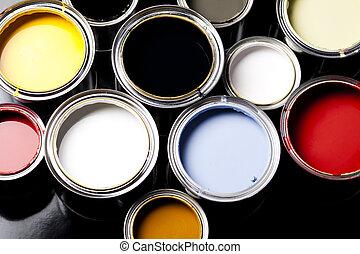 målarfärgs burkar, med, målarpensel
