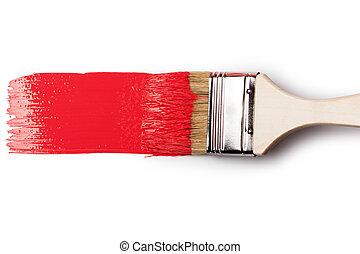 målarpensel, med, rödbrun färg