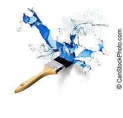 målarpensel, plaska, droppande, blå