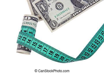 måle, tape, hos, penge