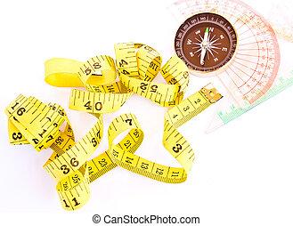 måle, tape, kompas, og, beherskeren, isoleret