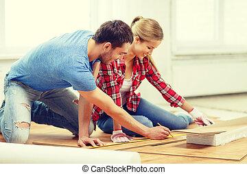 måling, smil, træ, par, gulvbelægning
