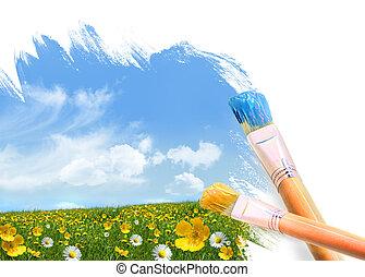 målning, a, fält, fyllda, av, vild blommar