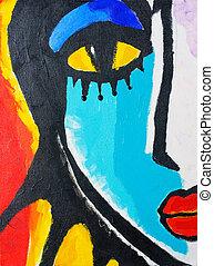 målning, av, kvinna