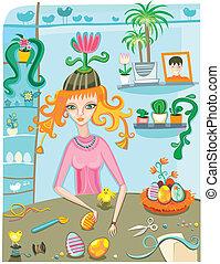 målning, flicka, påsk eggar