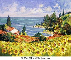 målning, hav, landskap
