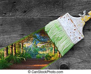 målning, natur, på, gammal, trä plankor