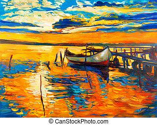 målning, olja