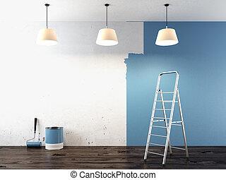 målning, på, vägg