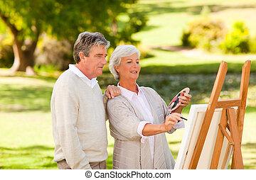 målning, pensioneratt par, parkera