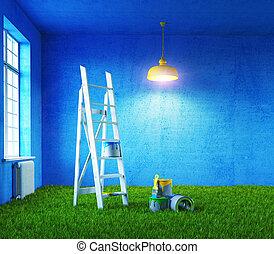 målning, rum