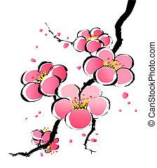 målning, sakura, kinesisk