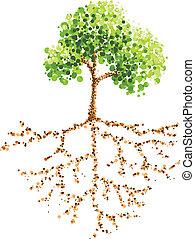 målning, träd, punkt, rot