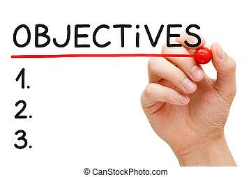 målsætninger, liste