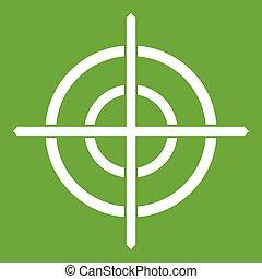 måltavla, crosshair, ikon, grön