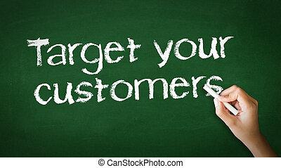 måltavla, din, kunder, krita, illustration