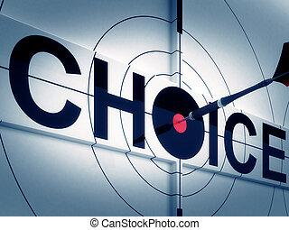 måltavla, val, visar, dubbelriktad, bana, beslut