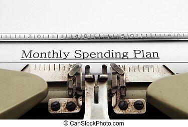 månatlig, spenderande, plan