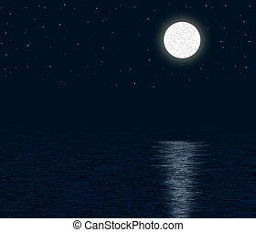 månbelyst, ocean