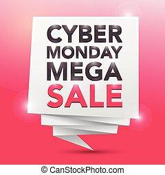 måndag, affisch, cybernetiska, element, design, mega-sale