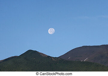 måne, över, mountains