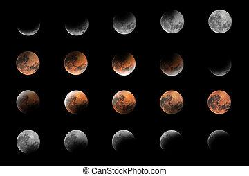 måne, blod, sammansatt, faserna, lunar förmörkelse