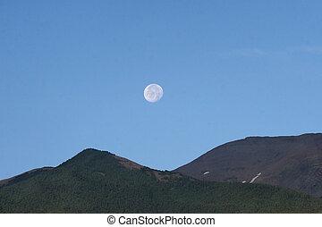 måne, hen, bjerge