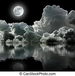 måne, in, svart, stormig, skyn