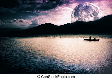 måne, -, insjö, fantasi, båt, landskap
