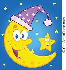 måne, med, sova, hatt, och, stjärna
