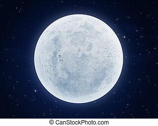 måne, natt