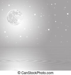 måne, och, stjärna, skönhet