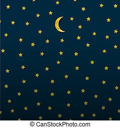måne och stjärnor, från, papper