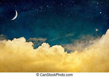måne, og, cloudscape