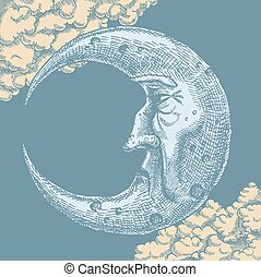 måne, teckning, ansikte, månskära, årgång