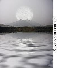 månebelyst, landskab