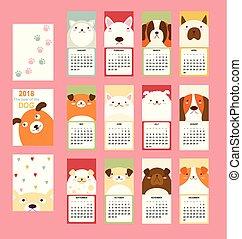 månedligt, cute, kalender, hund, 2018