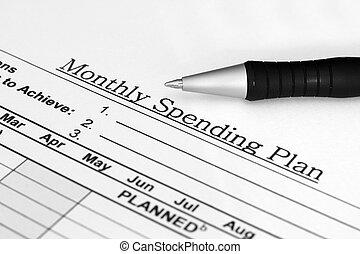 månedligt, spending, plan