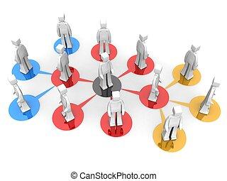 mång-, begrepp, nätverk, affär, plan