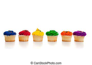 mång-, cupcakes, färgad