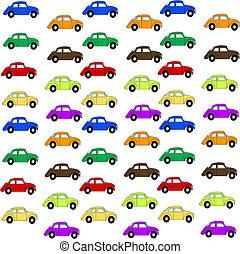 mång-, färg, bilar, -white, bakgrund