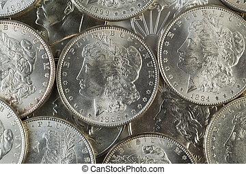 många, amerikan, silver dollars