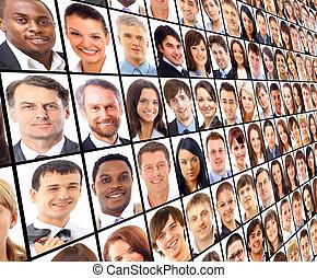 många, den, isolerat, porträtten, av, folk