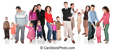 många, familj, med, barn, grupp, isolerat