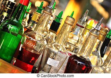 många, flaskor, av, alkohol